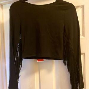 NWT Zara black fringe crop top